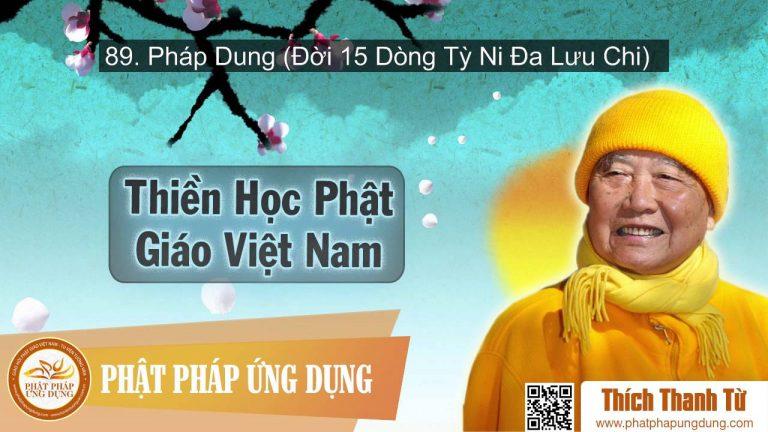 Thiền Học Phật Giáo Việt Nam 89 – Pháp Dung (Đời 15 Dòng Tỳ Ni Đa Lưu Chi) – HT Thích Thanh Từ