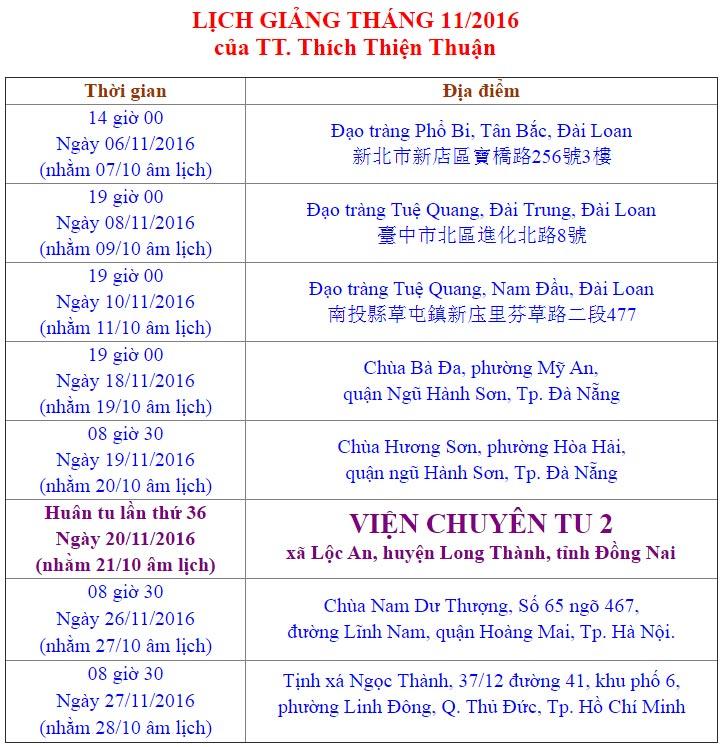 Lịch Giảng Tháng 11 - 2016 Của Thầy Thích Thiện Thuận