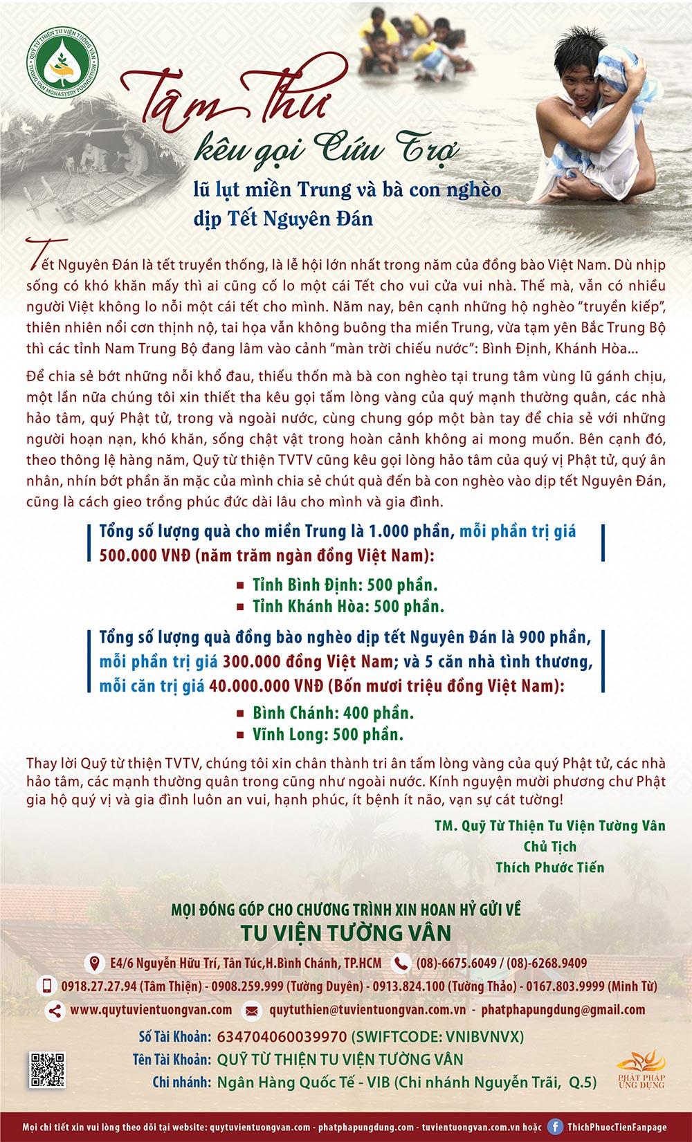 Tâm thư kêu gọi cứu trợ lũ lụt miền Trung và bà con nghèo dịp Tết Nguyên Đán 2017 - 01