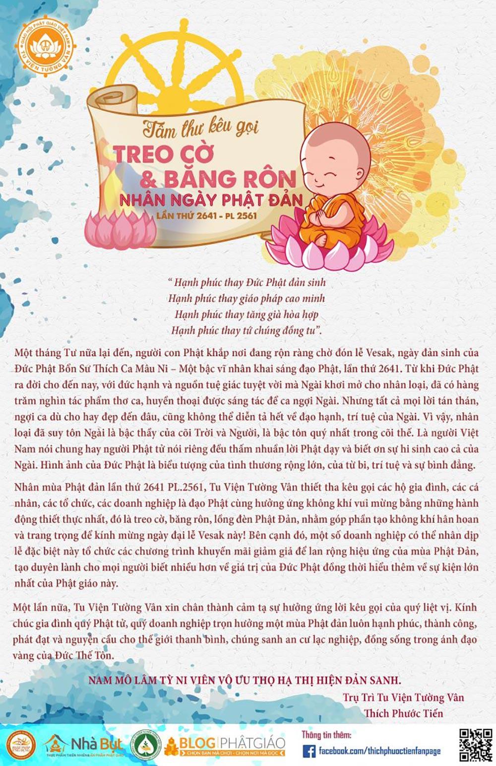 Tâm Thư Kêu Gọi Treo Cờ Và Băng Rôn Nhân Dịp Phật Đản PL 2561 - DL 2017 - ppud