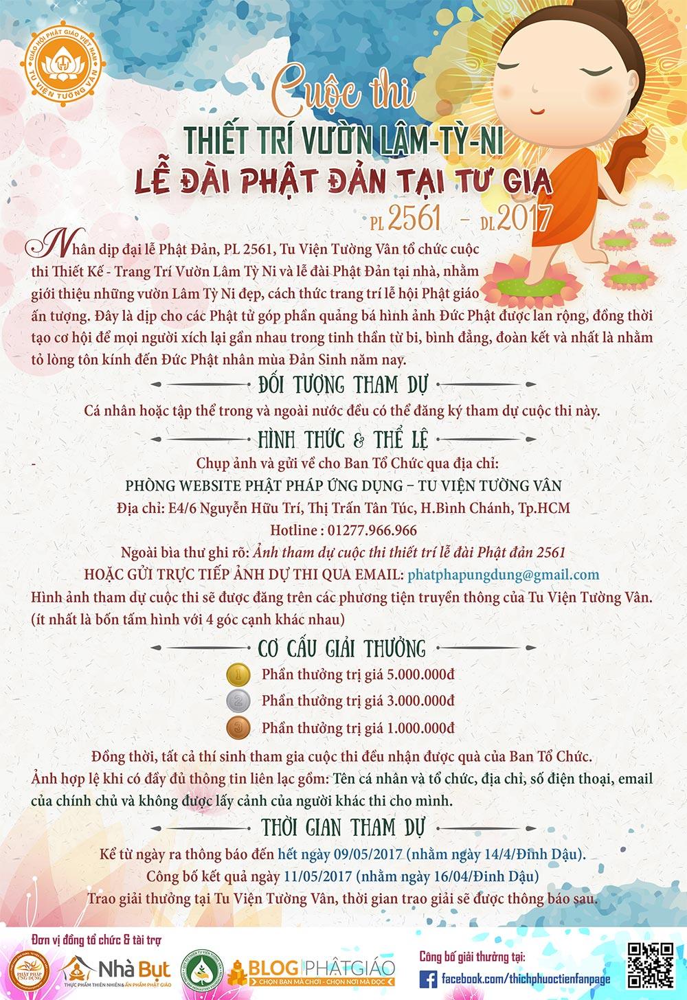 Thông Báo Cuộc Thi Thiết Trí Vườn Lâm Tỳ Ni - Lễ Đài Phật Đản Tại Tư Gia