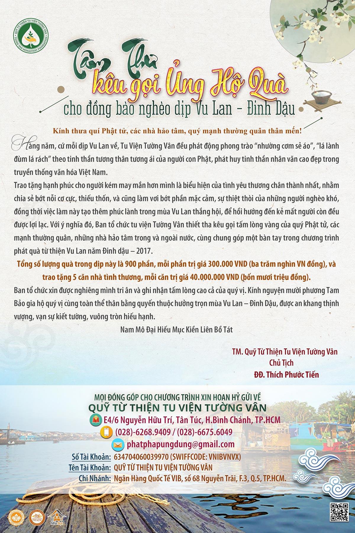 Tâm thư kêu gọi ủng hộ đồng bào nghèo dịp Vu Lan - Đinh Dậu 2017 - PPUD