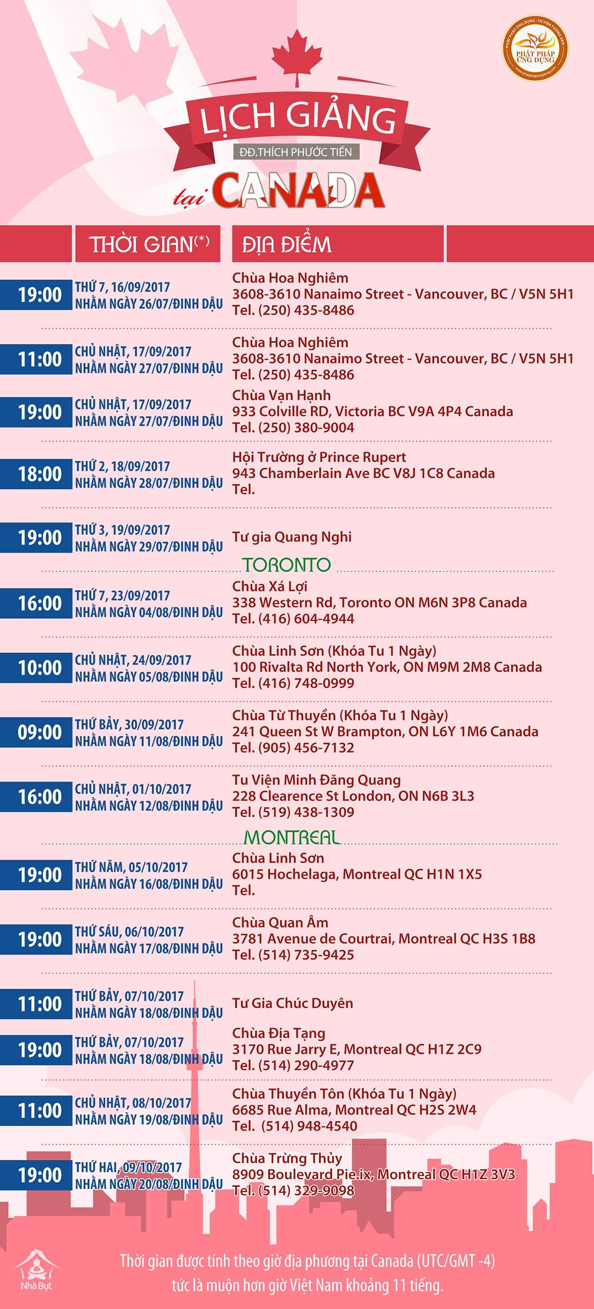 Lịch Giảng Của Thầy Thích Phước Tiến Tại Canada Tháng 9 & 10 Năm 2017