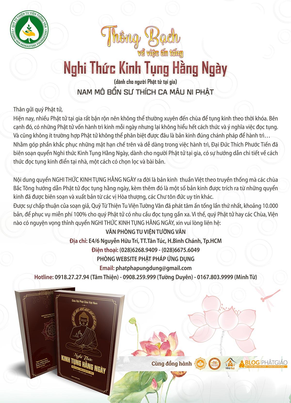 Thông Bạch việc Ấn tống KINH TỤNG HẰNG NGÀY (dành cho Phật tử tại gia)