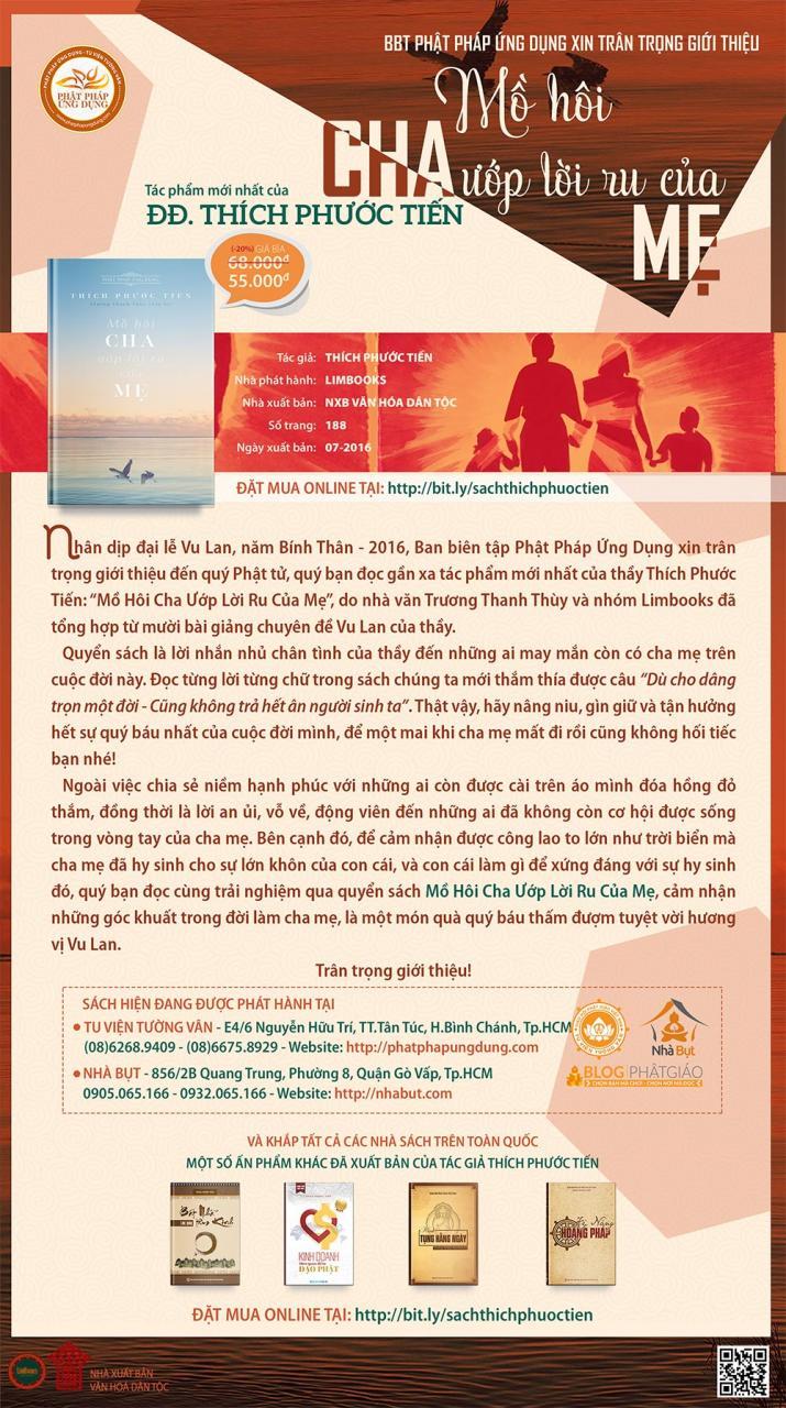 Sách mới: Mồ Hôi Cha Ướp Lời Ru Của Mẹ - Thích Phước Tiến