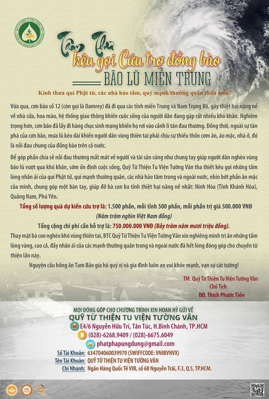 Tâm Thư Kêu Gọi Cứu Trợ Đồng Bào Bị Bão Lũ Miền Trung
