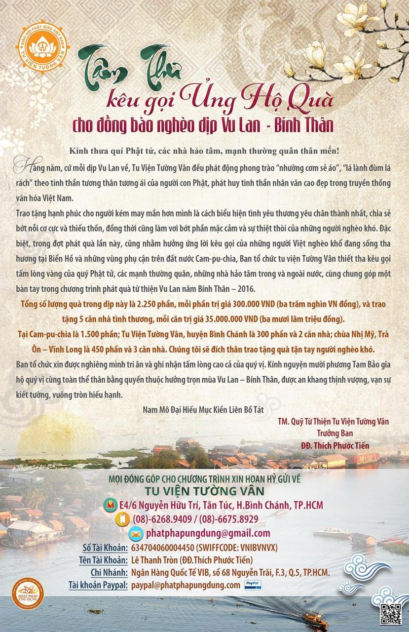 Tâm Thư kêu gọi ủng hộ đồng bào nghèo dịp Vu Lan Bính Thân 2016